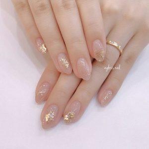 kawaii clear nails with embellishments