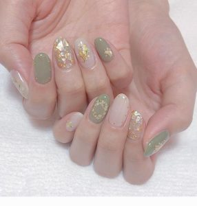 korean olive green and gold