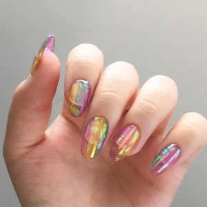rainbow jelly nails