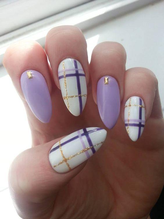 plaid pastel purple gold