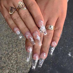 louis vuitton white logo clear nails