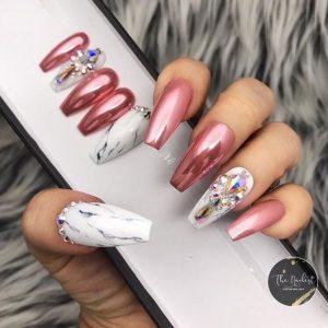 pink chrome rhinestone marble