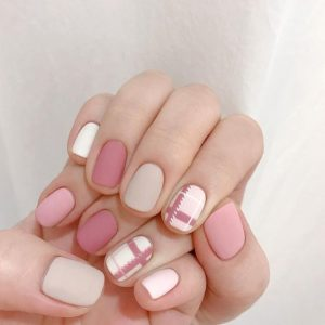 korean plaid pink