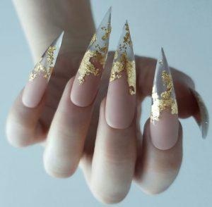 stiletto sharp gold nude clear