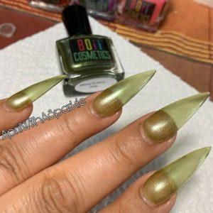 shimmer green jelly nail