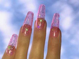 light pink glitz jelly nail