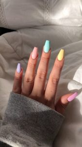 rainbow pastel color nails