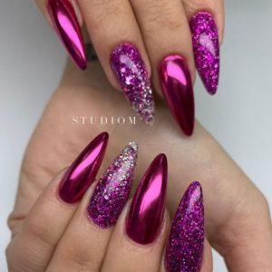 stiletto dark pink chrome glitter