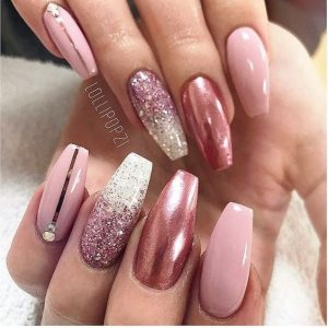 chrome ombre stripe pink