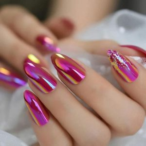 holographic shine chrome pink