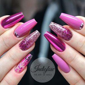 chrome glitter jelly pinks