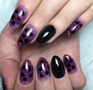 black purple hearts jelly nail