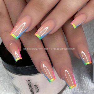 rainbow french tip ombre