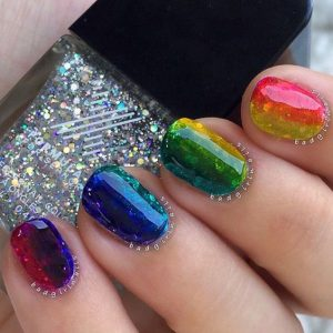 rainbow short jelly nails