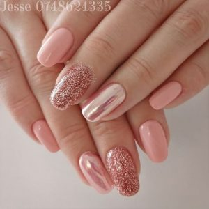 peach chrome pink glitter