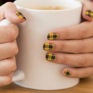 yellow black plaid nails