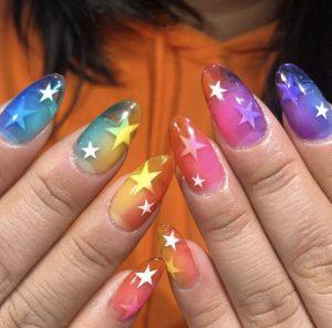 rainbow with stars jelly nails