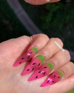 summer melon jelly nail