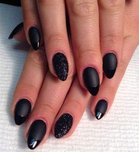 gel black matte glitter