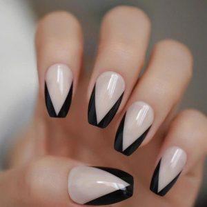 milky white french black tip
