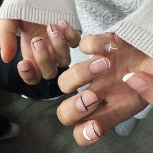 minimal black white nails