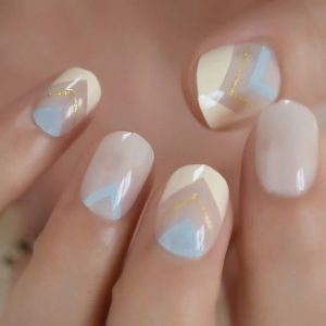 milky white blue nail
