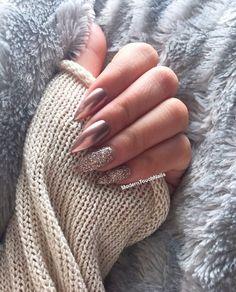 glitter meets chrome nails