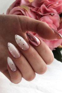 white polka dot rose gold