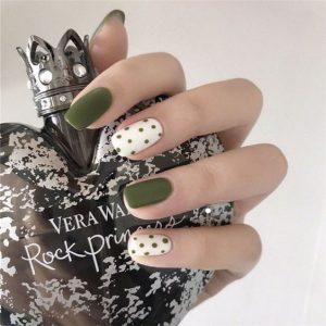 gel olive green dots