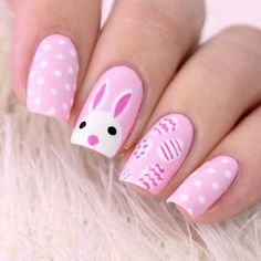 easter pink nail art