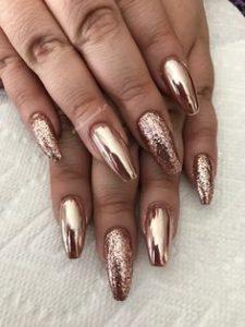 glitter chrome rose gold mix
