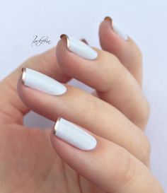french tip with rose gold