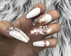 stoned rose gold manicure