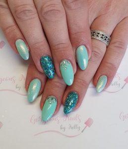 teal glitter almond