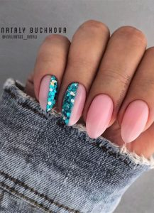 nude and teal glitter half
