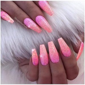 long pink coral ombre