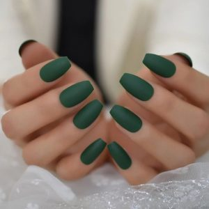 short coffin solid green jewel