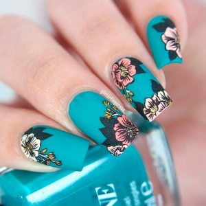 bright teal flowers