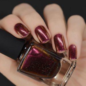 holographic maroon nail