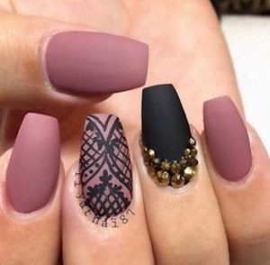 matte mauve lace black