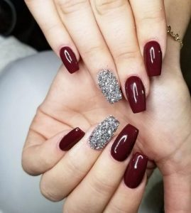 silver glitter accent with maroon