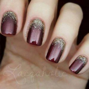ombre glitter metallic maroon