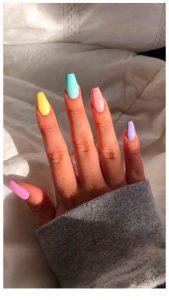 rainbow pastels short coffin