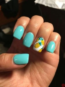 teal with pineapples
