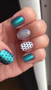 teal metallic dots