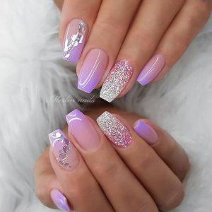 purple design glitter short