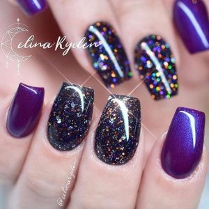 dark glitter purple short