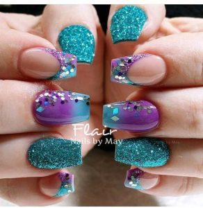 teal and purple combo