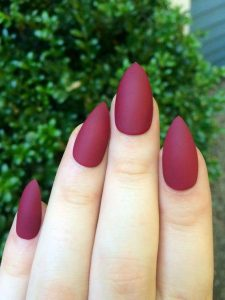 maroon matte nails solid