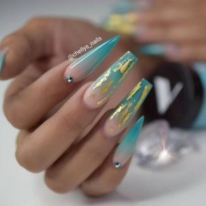 long teal ombre